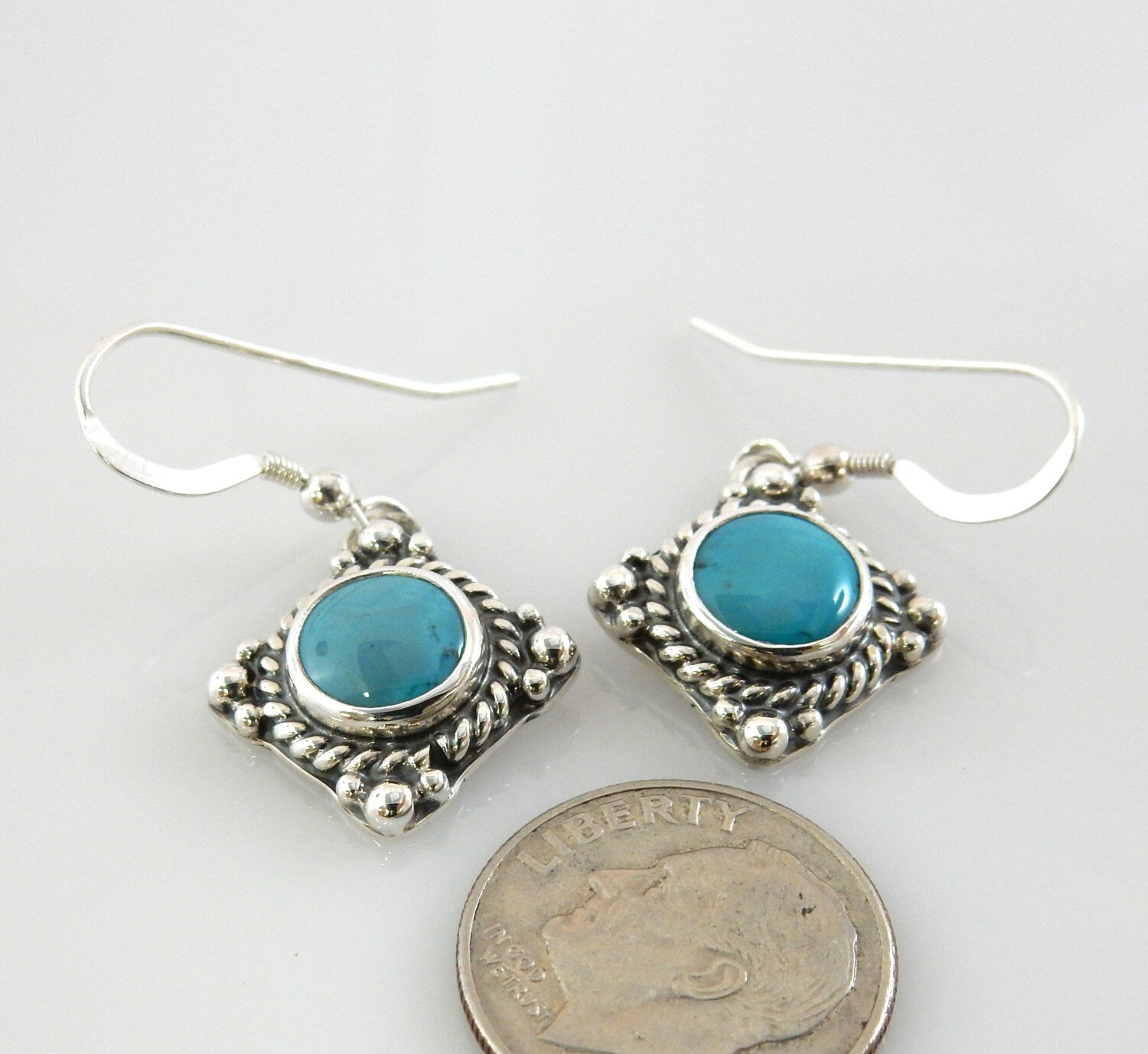 Silver Blue Turquoise Earrings
