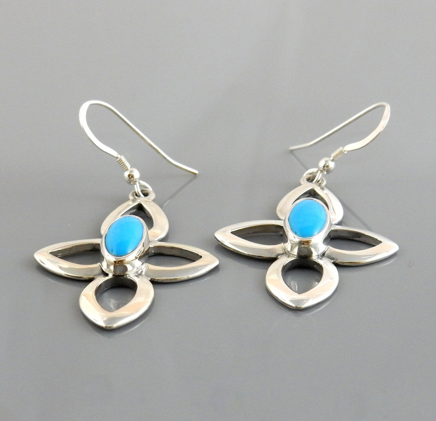 Silver Blue Turquoise Dangle Earrings