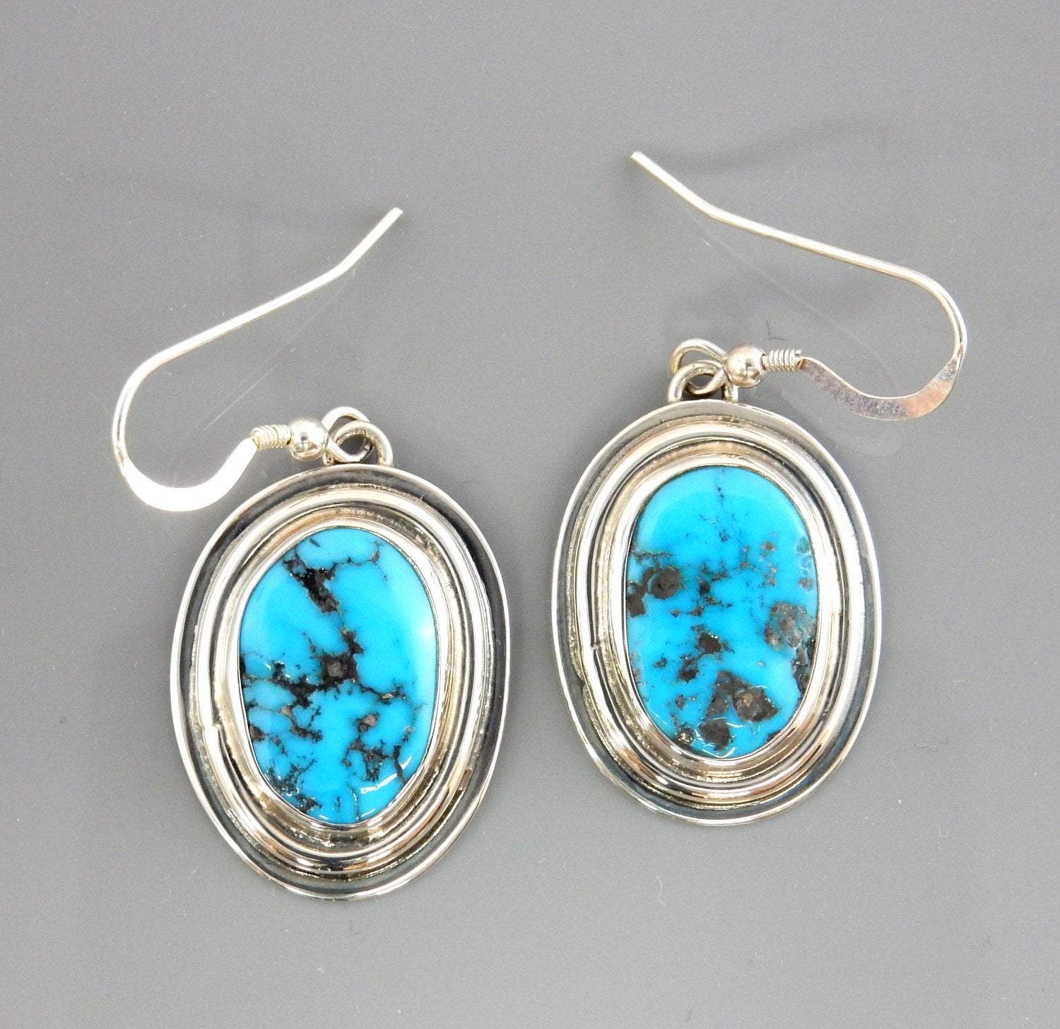 Unique Handmade Silver Blue Turquoise Dangle Earrings