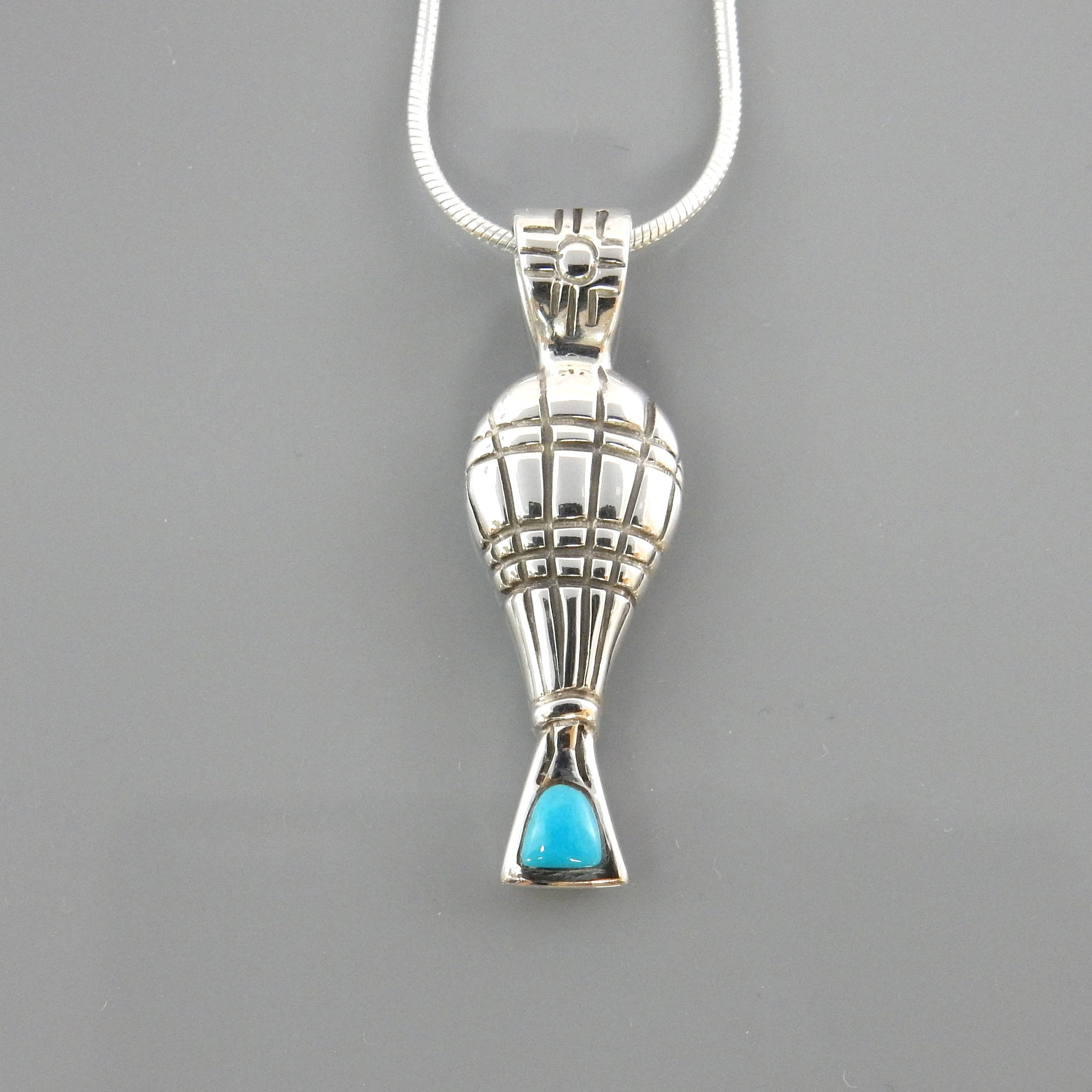 Silver Sleeping Beauty Turquoise Balloon Pendant