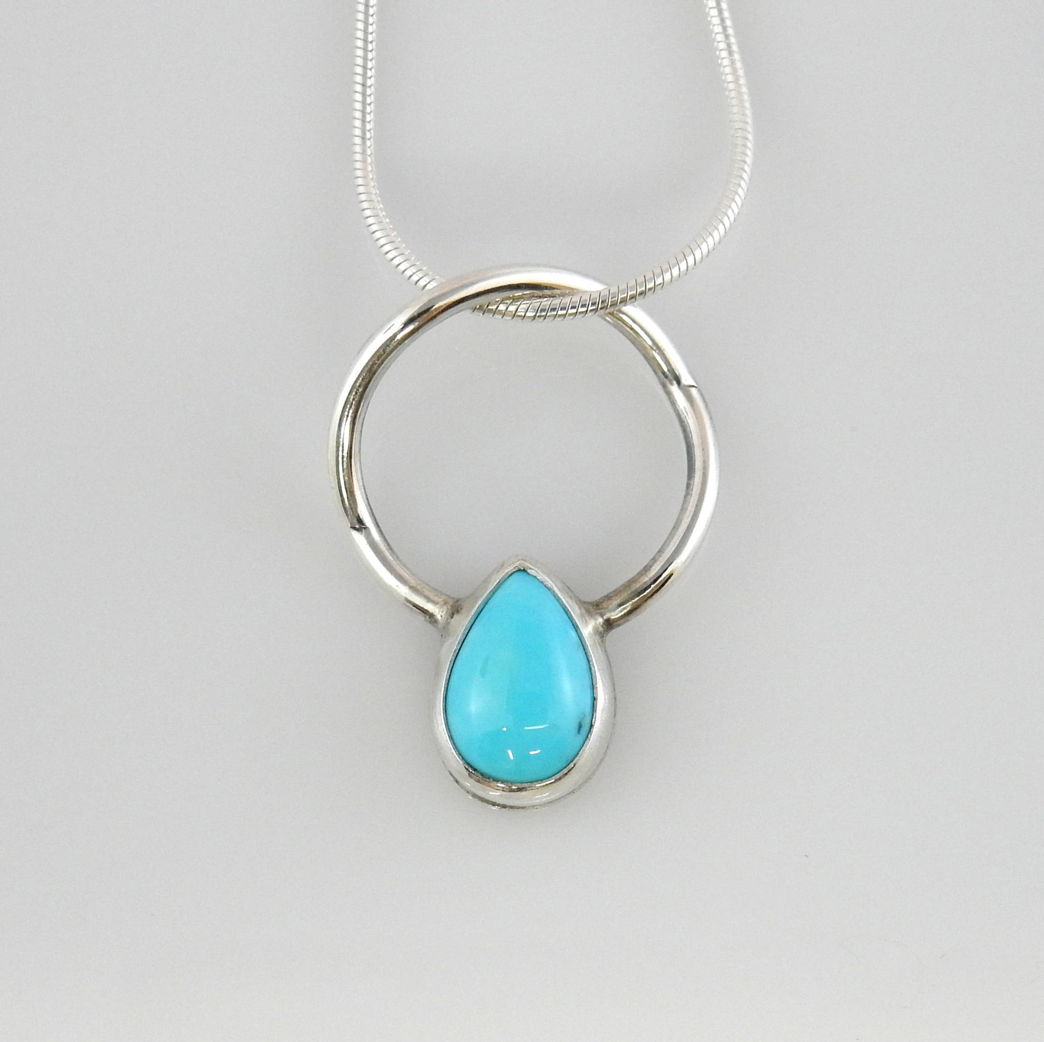 Silver Blue Turquoise Pendant