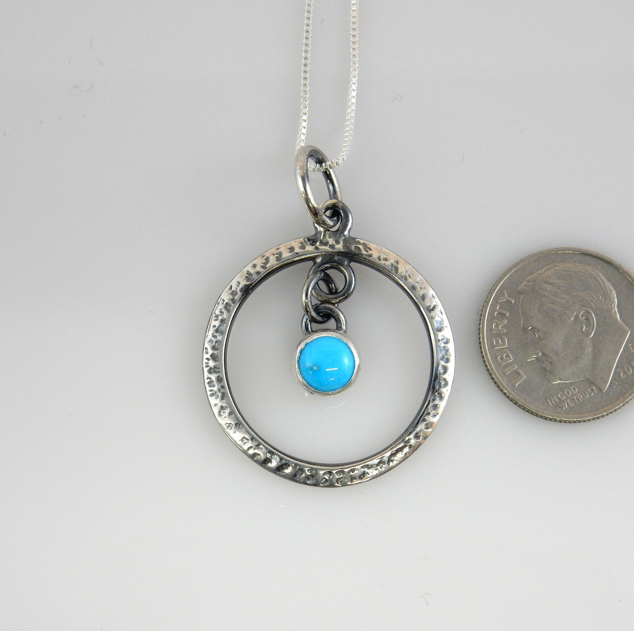 Silver Handcrafted Blue Turquoise Pendant