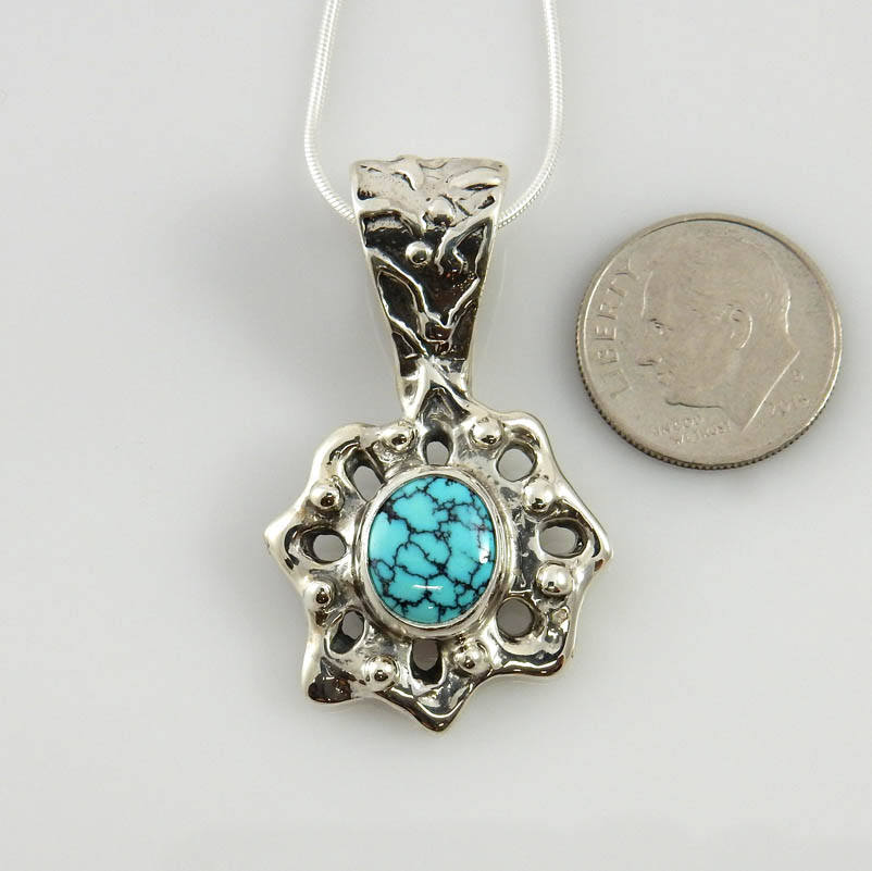 One-of-a-kind Sterling Silver Blue Turquoise Pendant