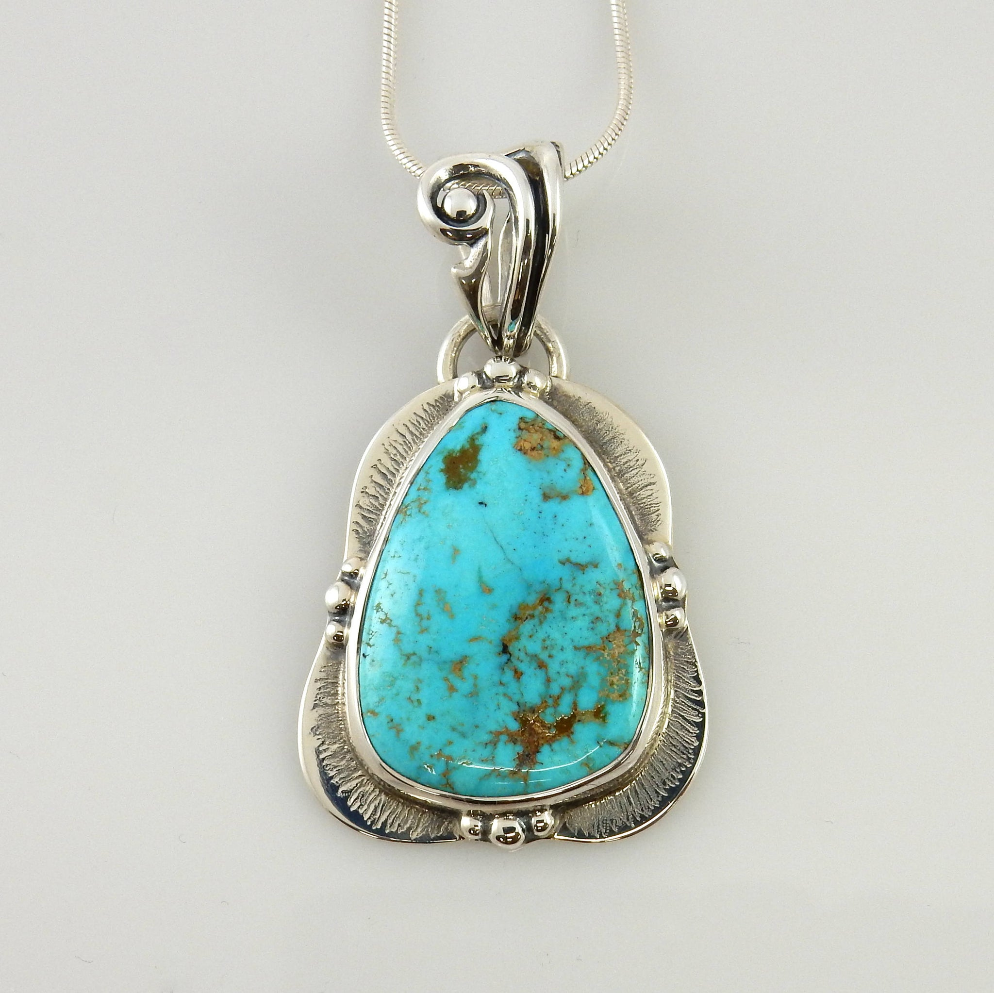Handmade Sterling Silver Blue Turquoise Pendant with Chain
