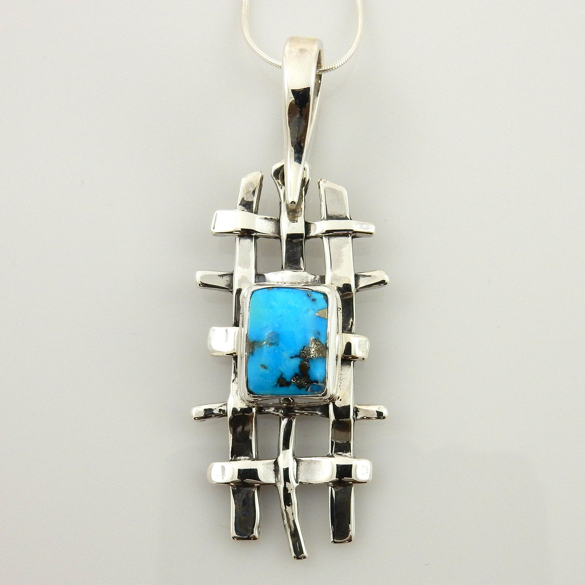 Modern Sterling Silver Weave Blue Turquoise Drop Pendant
