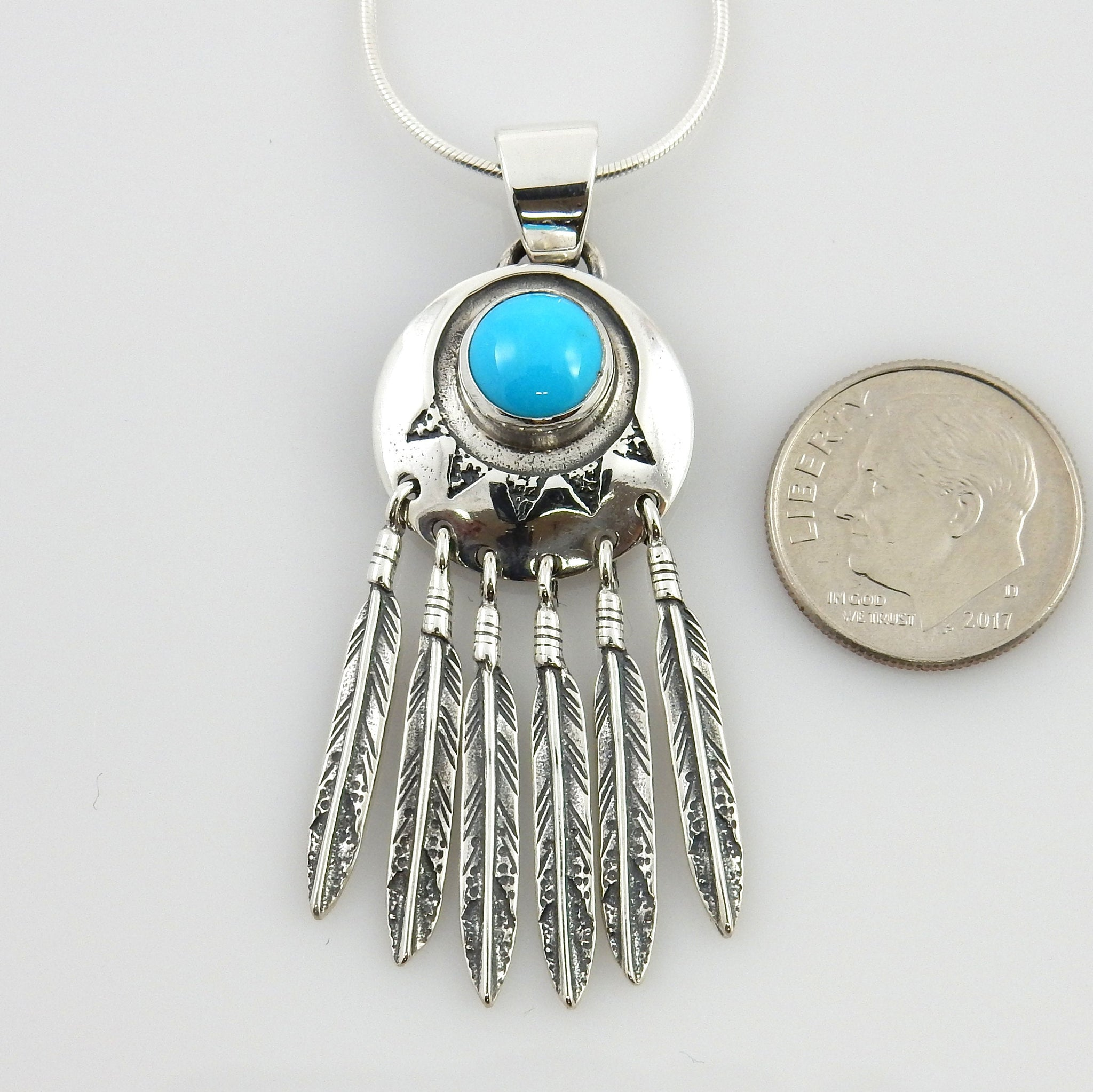 Southwestern Sterling Silver Turquoise Feather Pendant