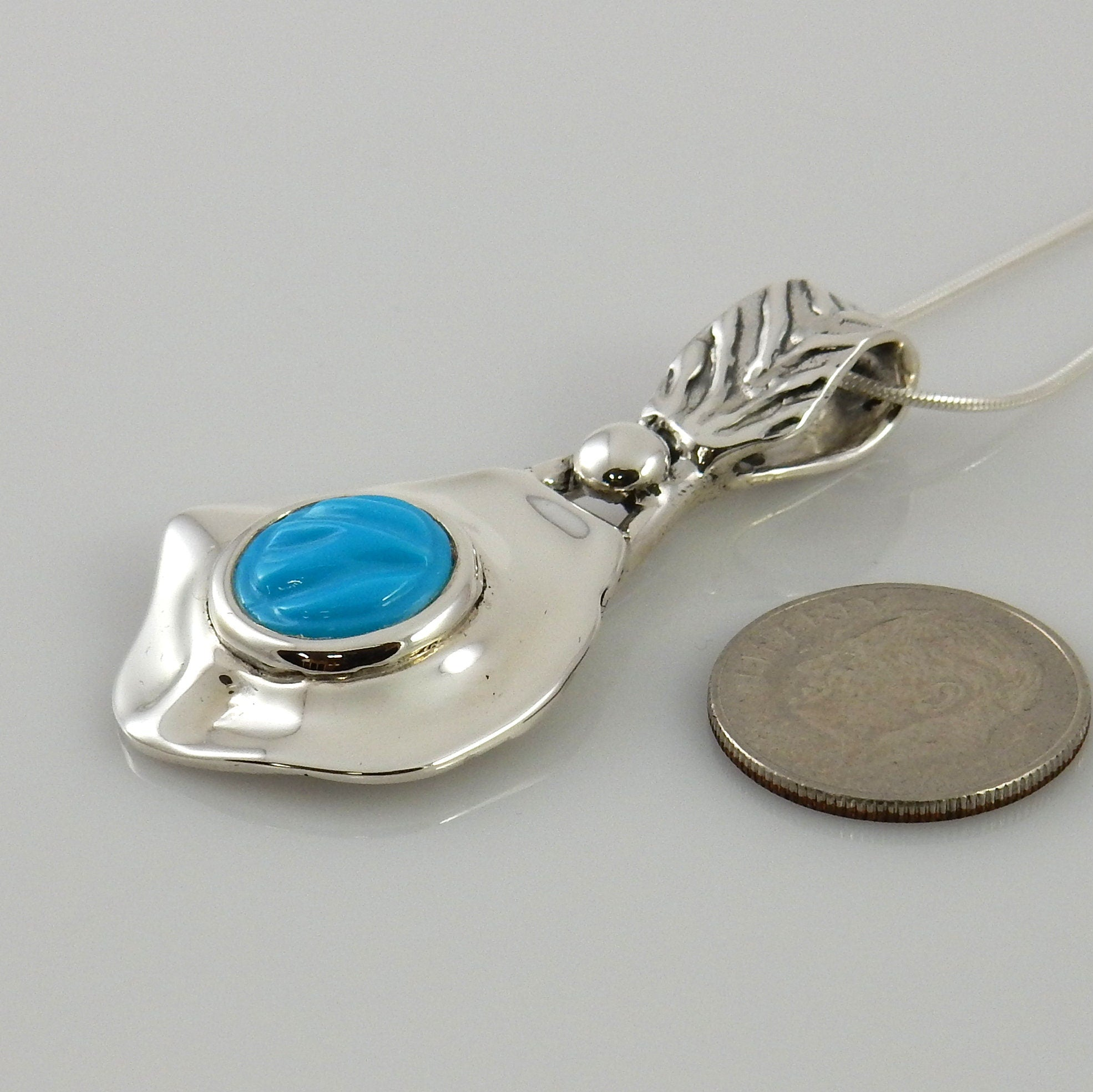 Silver Sleeping Beauty Turquoise Inlay Pendant
