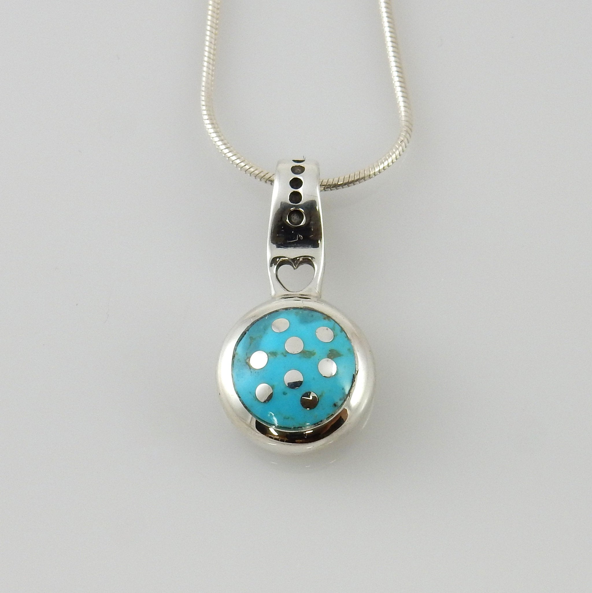Silver Blue Turquoise inlay Pendant
