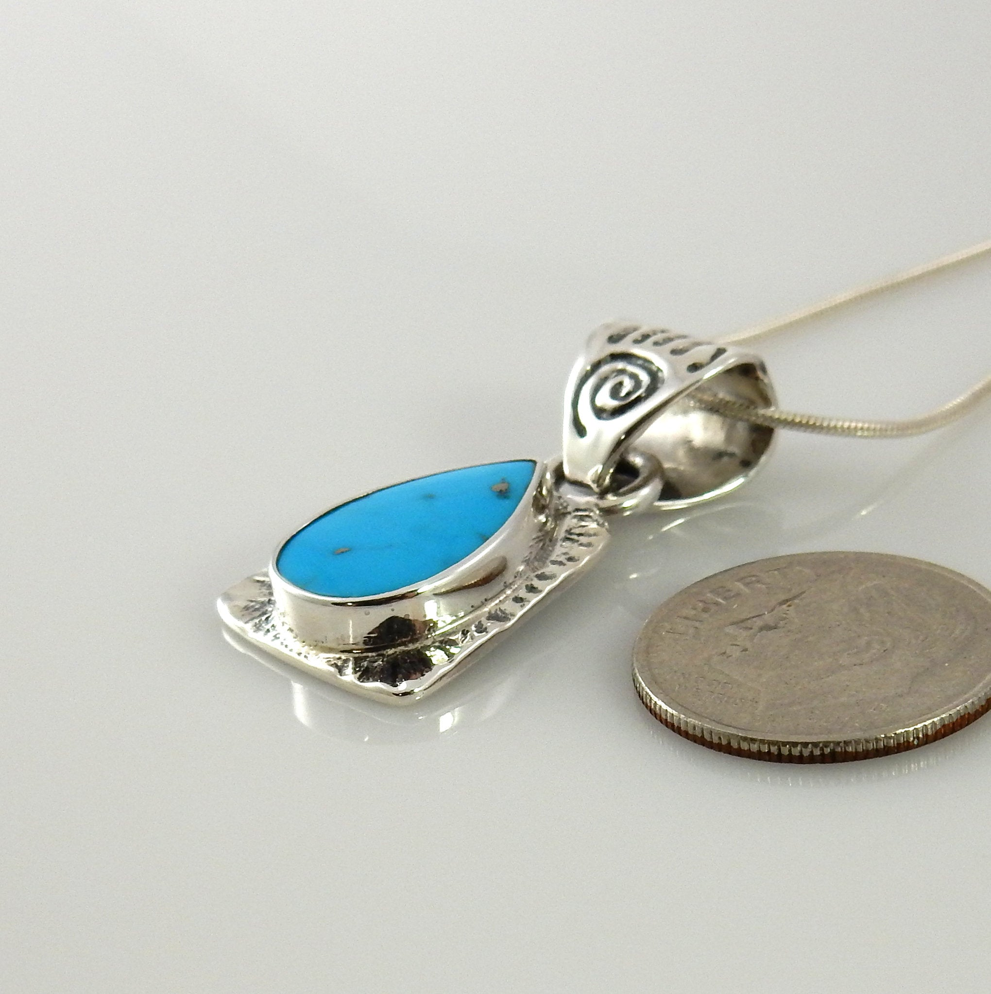 Silver Blue Turquoise Bear Paw Pendant
