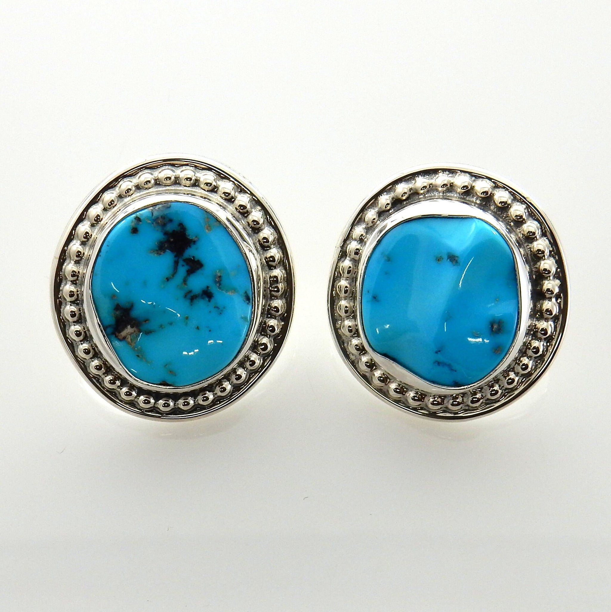 Unique Sterling Silver Blue Turquoise Post Earrings