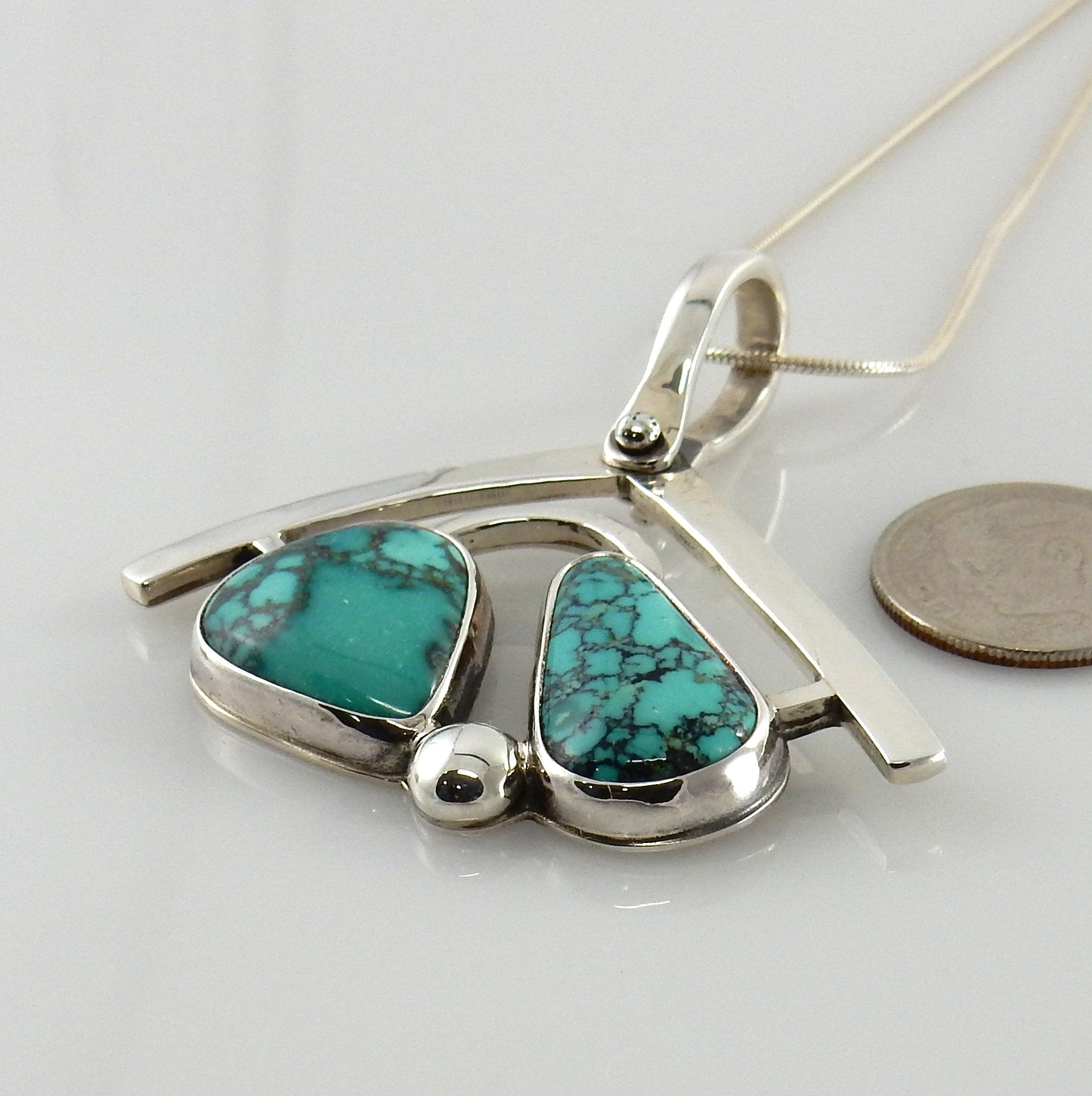 Designer Silver Green Turquoise Drop Pendant