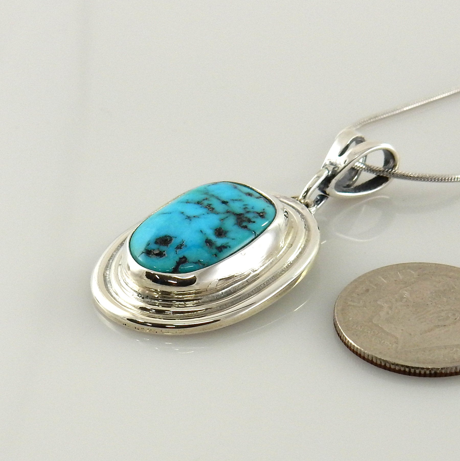 Handmade Sterling Silver Blue Turquoise Pendant
