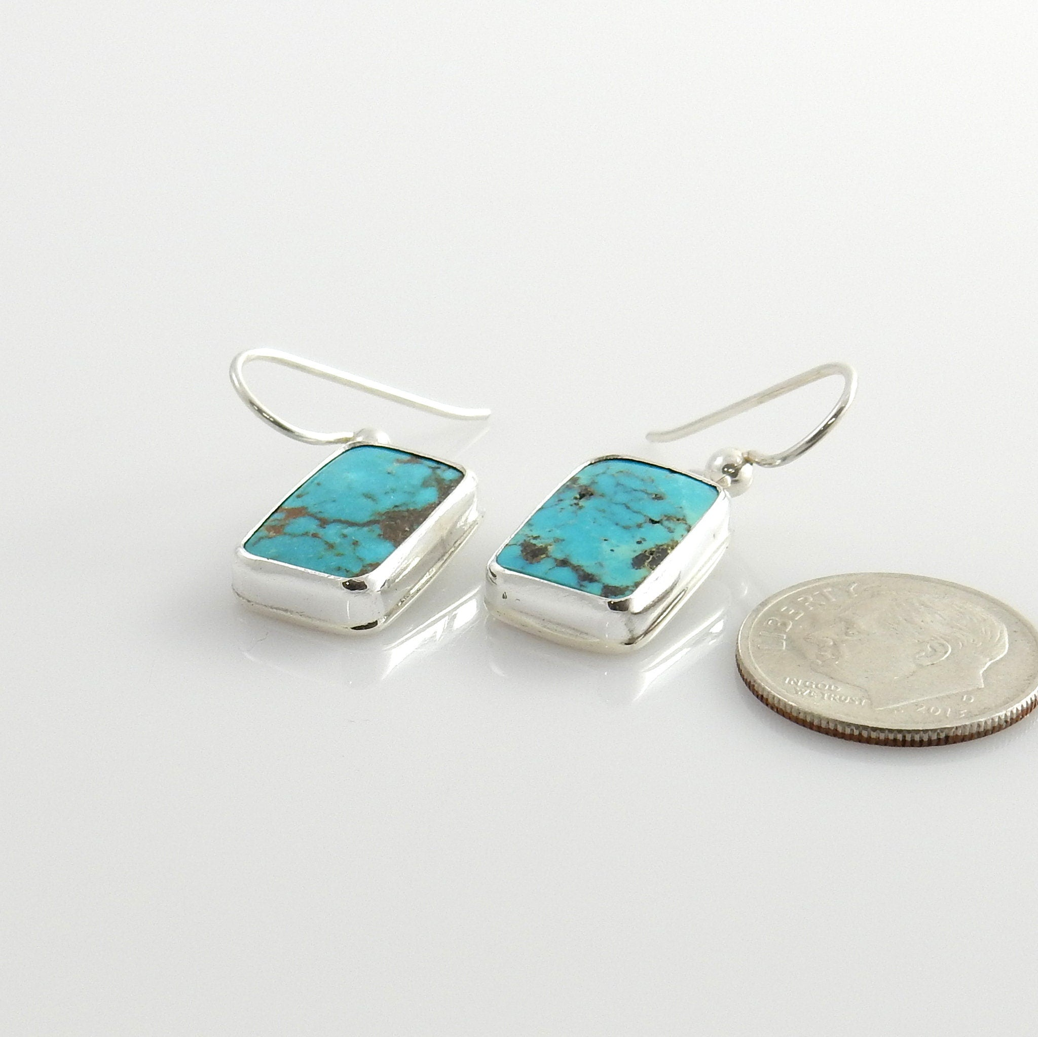 Handmade Sterling Silver Turquoise Dangle Earrings