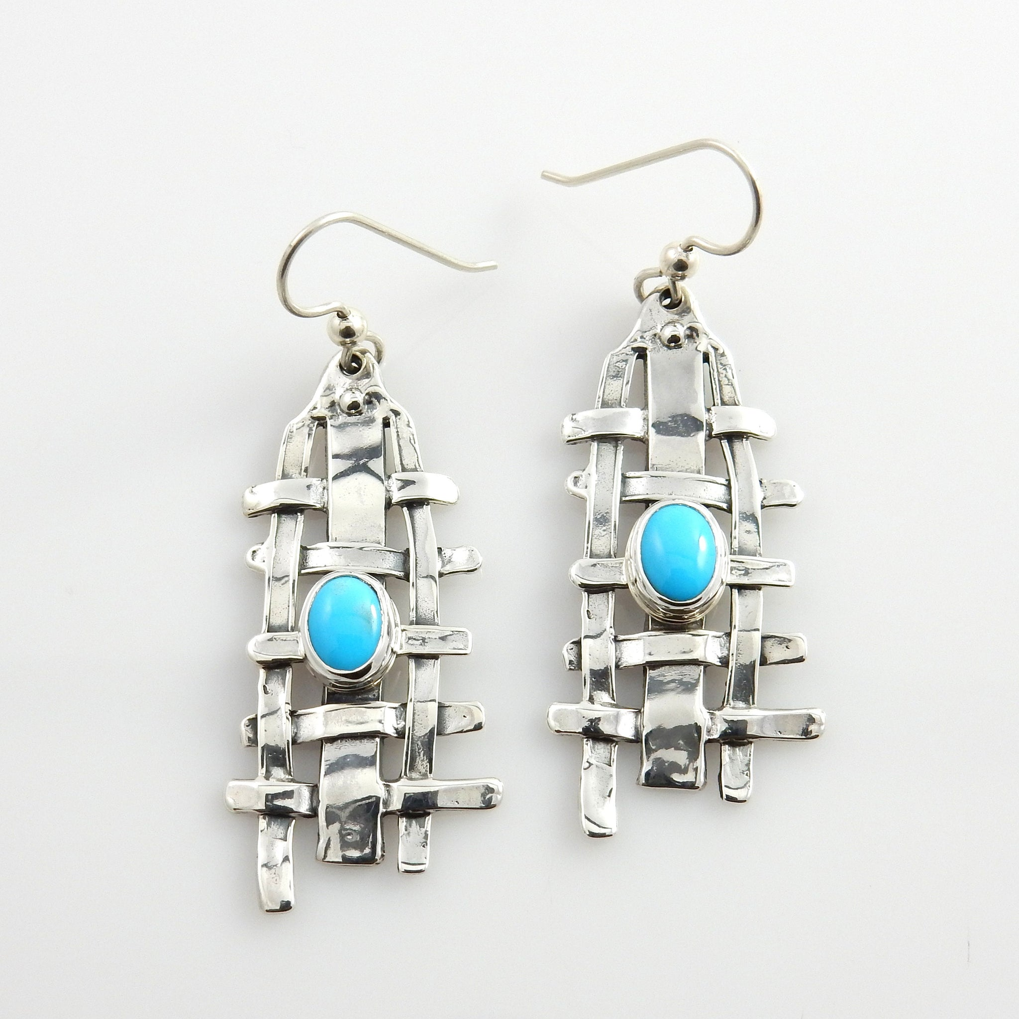 Stylish Handmade Silver Blue Turquoise Dangle Earrings