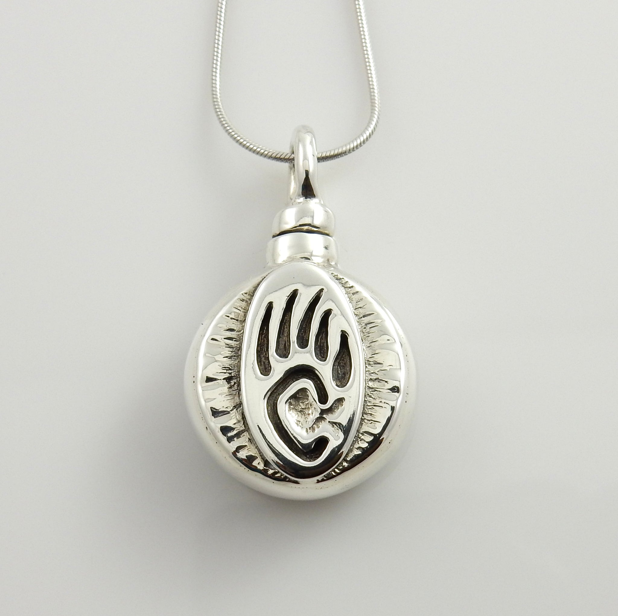 Sterling Silver Bear Paw Urn Pendant