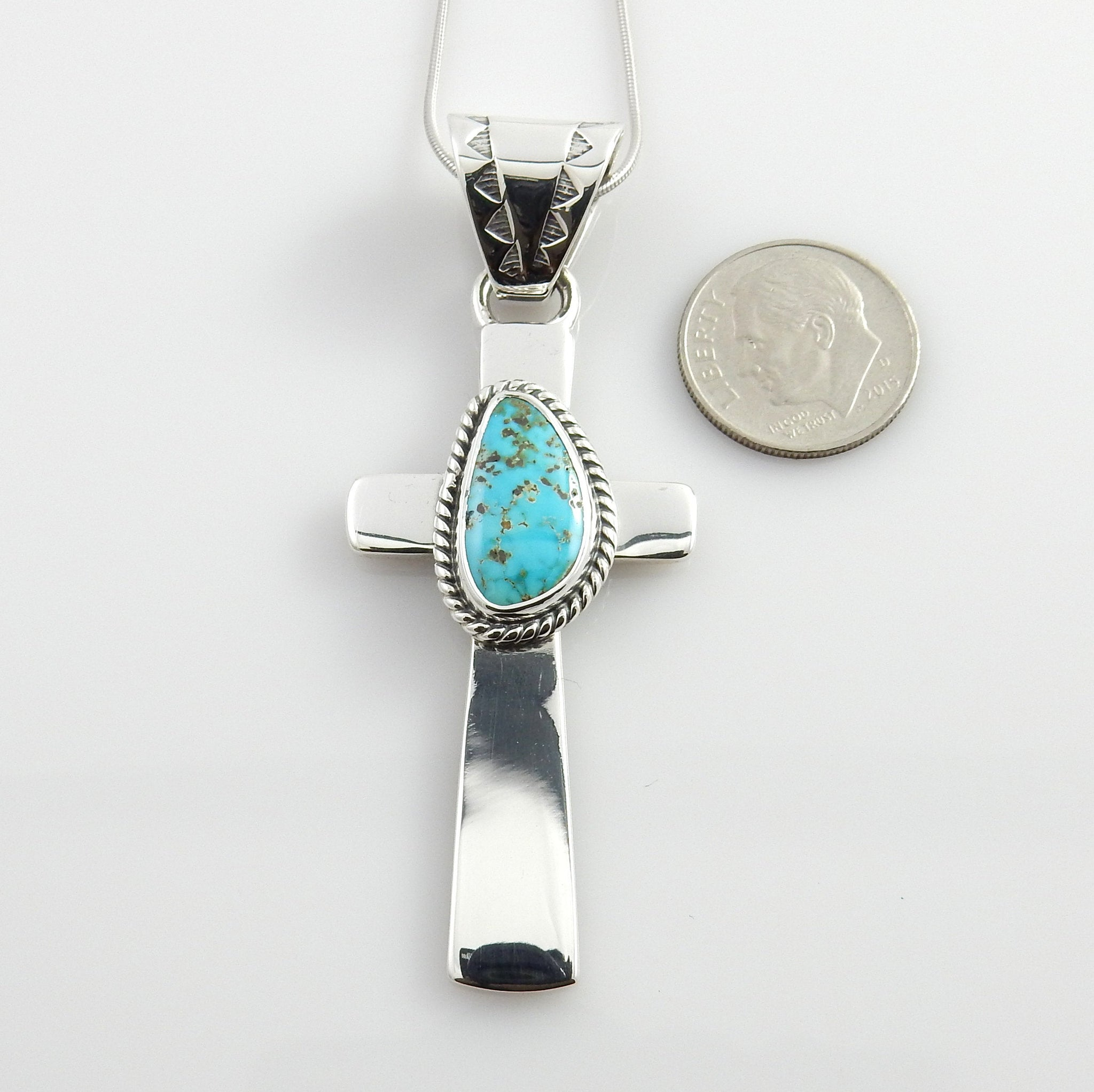 Silver Blue Turquoise Cross Pendant