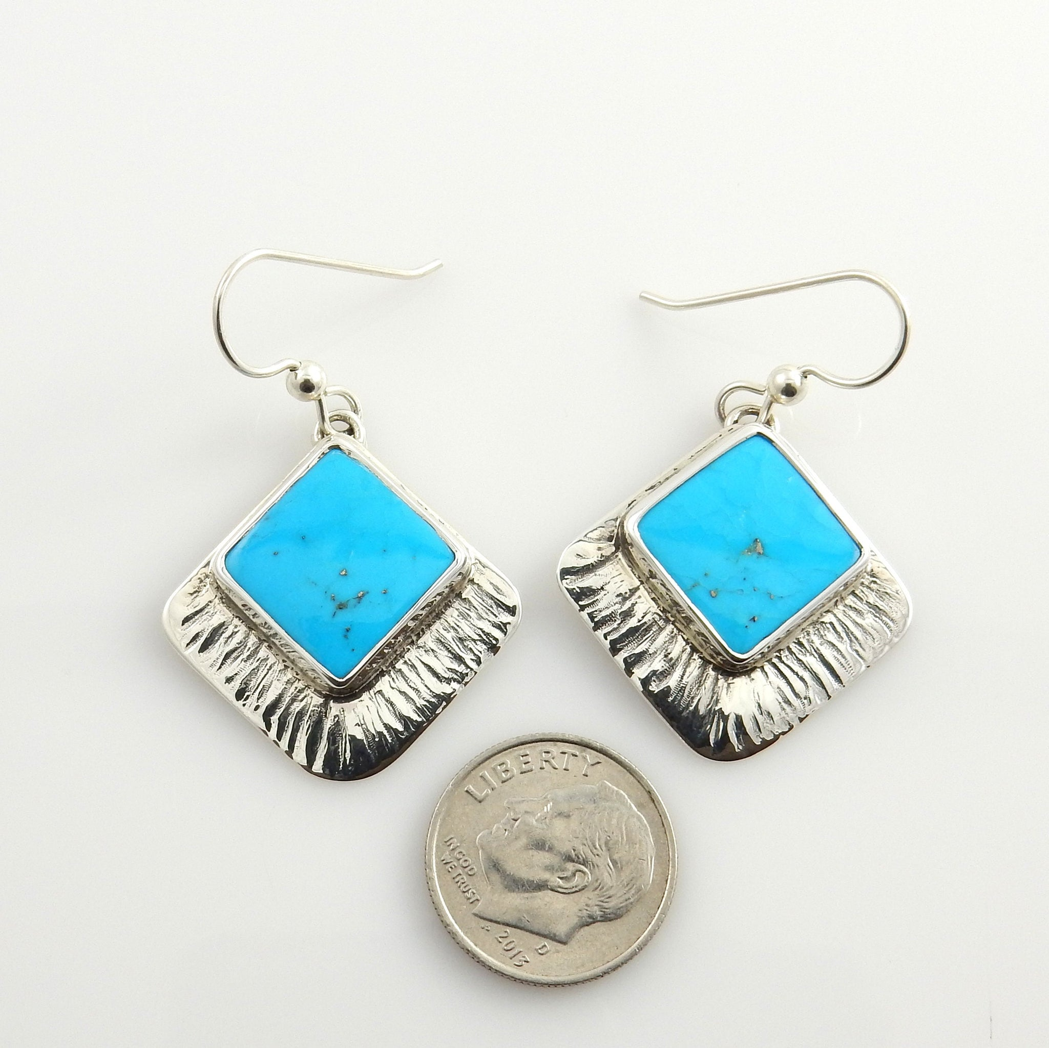 Silver Sleeping Beauty Turquoise Earrings