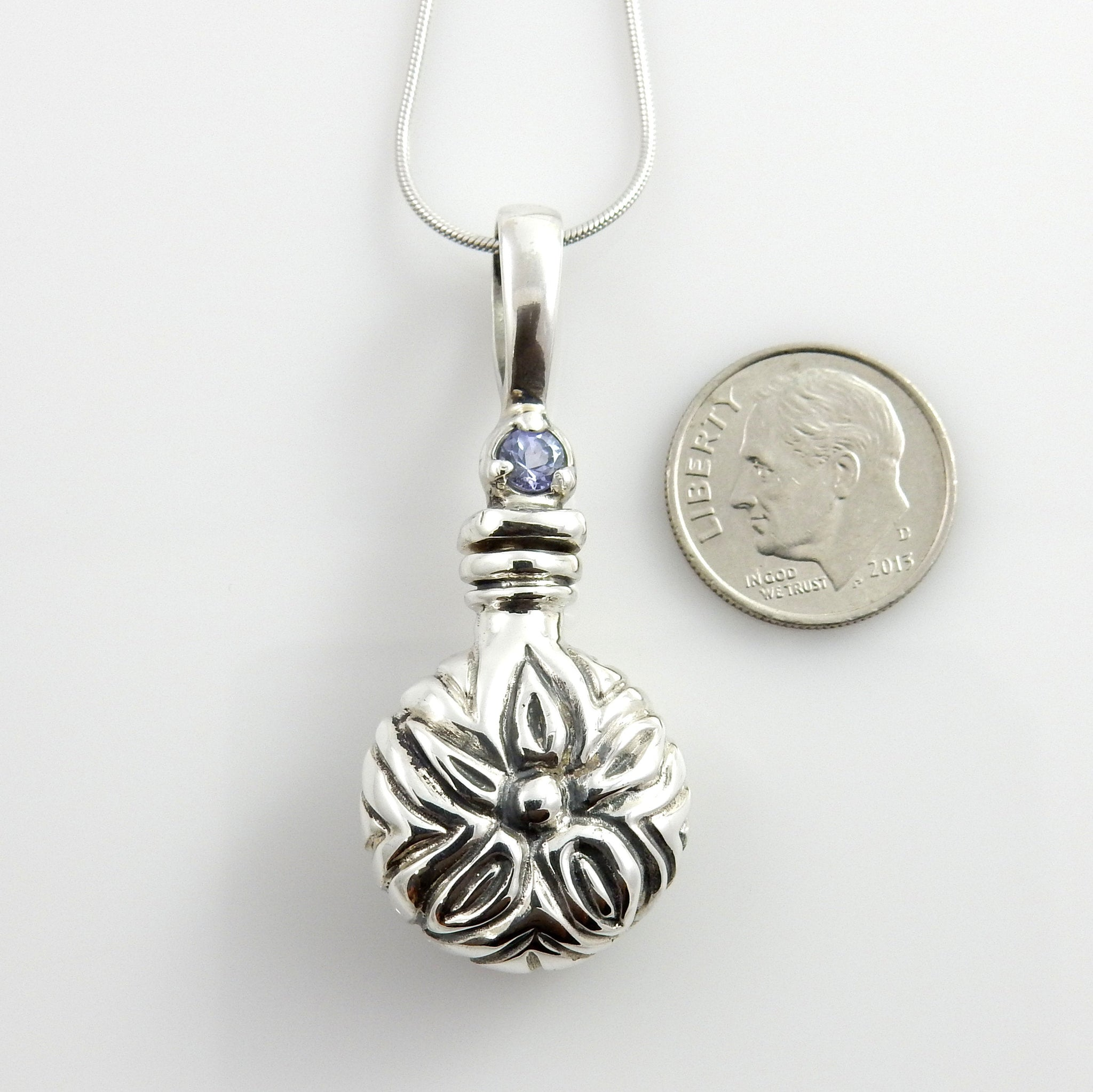 Sterling Silver Handcrafted Tanzanite Urn Pendant