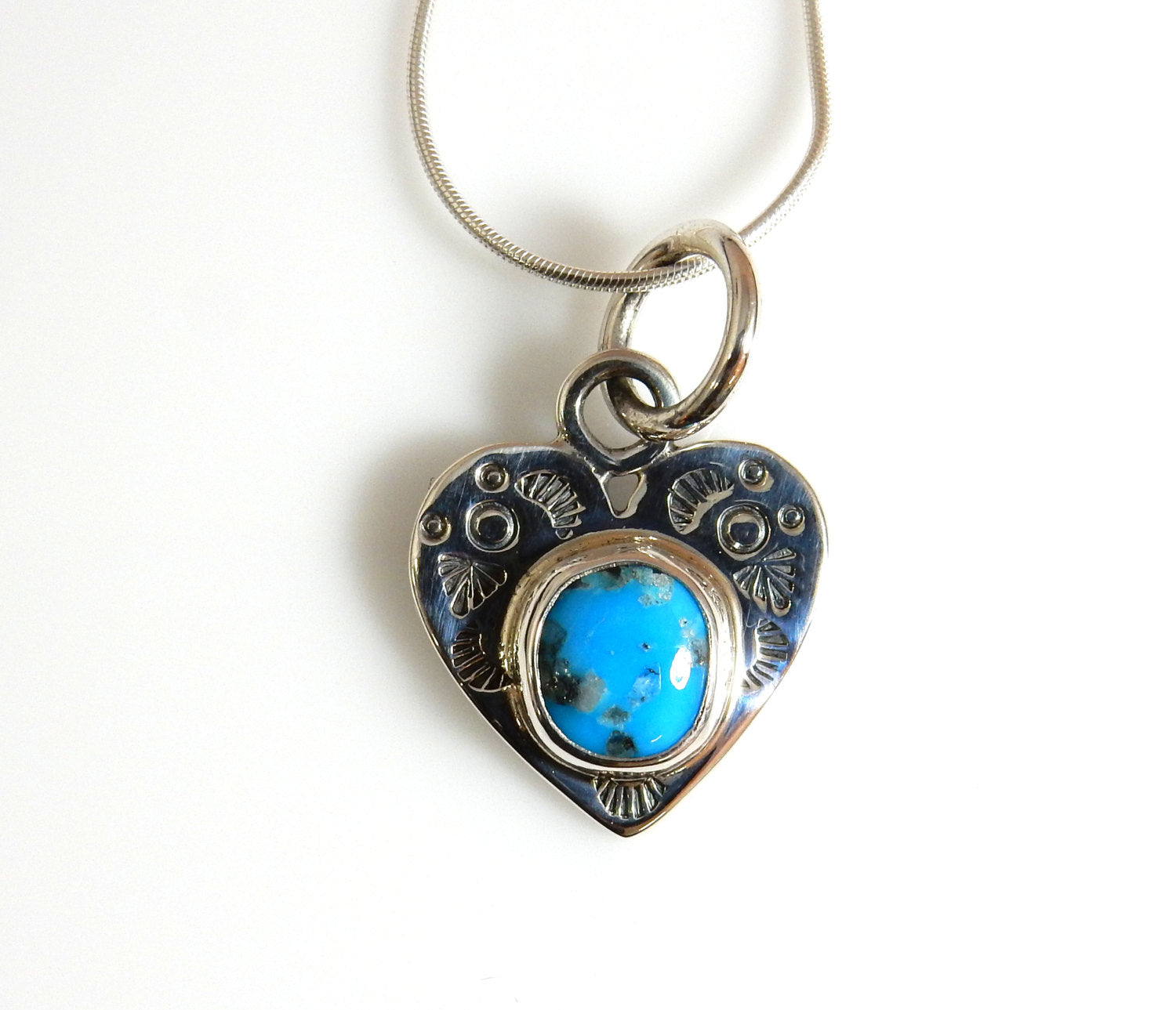 Silver Heart Turquoise Pendant