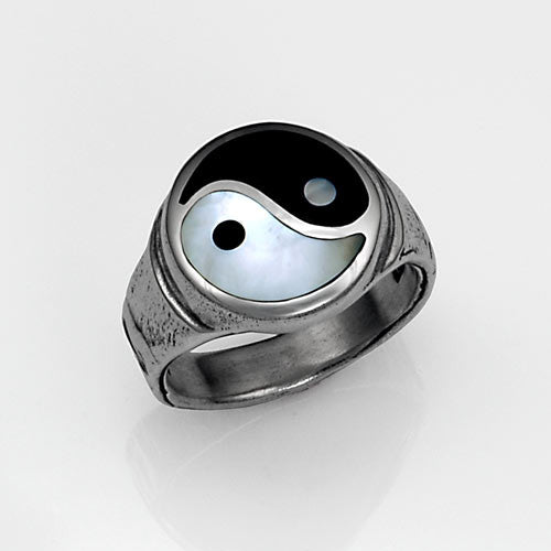 sterling silver yin yang inlay ring