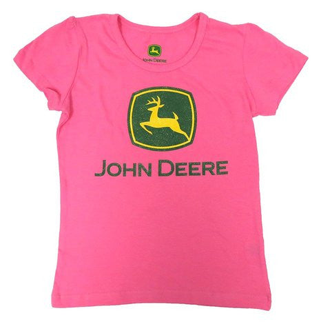 John Deere Toddler And Little Girls Pink Glitter Logo T-Shirt - Back40Trading2