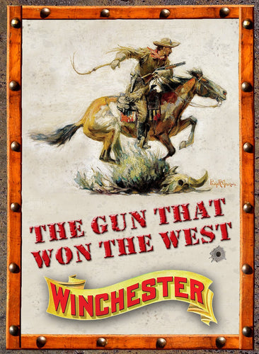 Rockin W Gun That Won The West Tin Sign - Back40Trading2