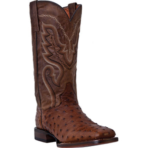 DAN POST MEN'S OSTRICH CHANDLER SADDLE BROWN - BAY APACHE- back40trading2 - 2