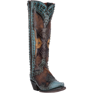 DAN POST WOMEN'S LEATHER NATASHA TURQUOISE - BROWN- back40trading2 - 1