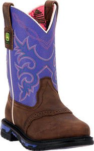 JOHN DEERE CHILDREN'S  LEATHER JOHNNY POPPER CHILDREN'S DARK BROWN - PURPLE