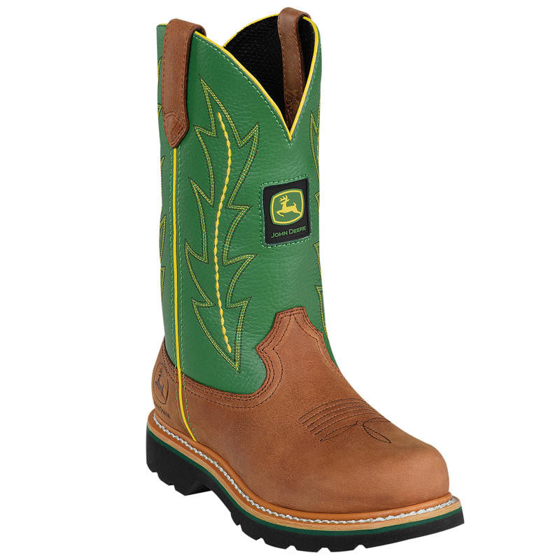 JOHN DEERE WOMEN'S  LEATHER CLASSIC TAN - GREEN