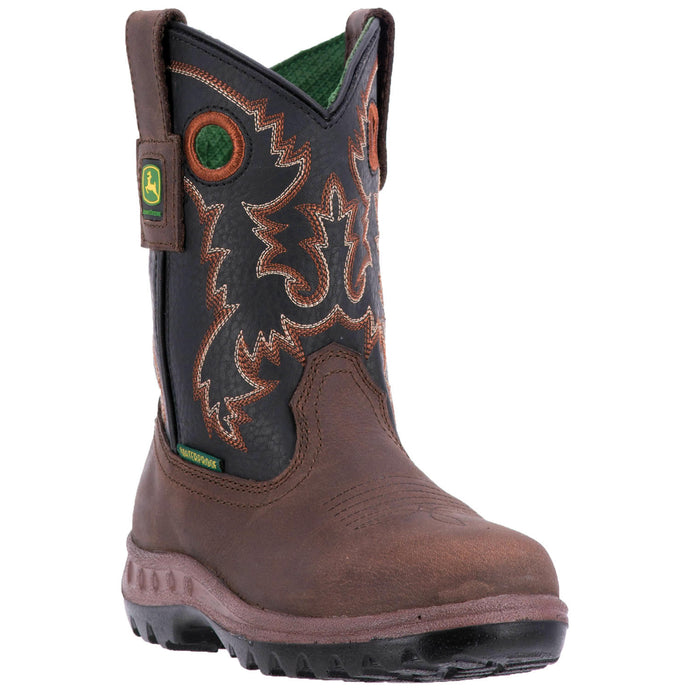 JOHN DEERE YOUTH'S  LEATHER JOHNNY POPPER YOUTH BROWN - BLACK- back40trading2 - 2