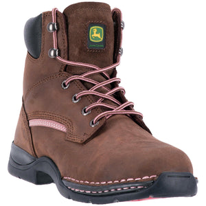 JOHN DEERE WOMEN'S  LEATHER STEEL TOE BROWN