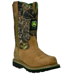 "JOHN DEERE MEN'S  LEATHER 11""PULL-ON TAN - MOSSY OAK- back40trading2 - 2"