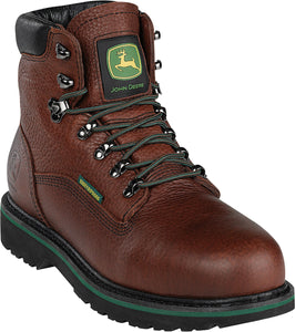 "JOHN DEERE MEN'S  LEATHER 6"" WATERPROOF DARK BROWN"