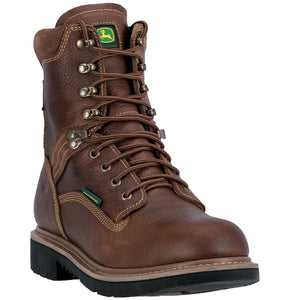 "JOHN DEERE MEN'S  LEATHER 8"" WATERPROOF LACE UP BROWN- back40trading2 - 1"