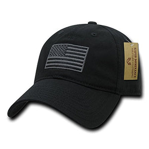 Rapid Dominance American Flag Embroidered Washed Cotton Baseball Cap - Black- back40trading2