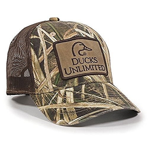 Ducks Unlimited Camouflage Patch Hat Mossy Oak Shadow Grass Blades, Brown