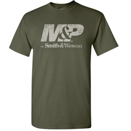 M&P by Smith & Wesson Men's Distressed Logo Military Green T-Shirt - Back40Trading2