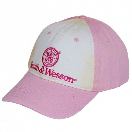 Smith & Wesson Pink/White Two Tone Distressed Logo Hat - Back40Trading2