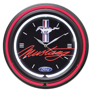 "Ford Mustang 15"" Double Neon Clock- back40trading2"