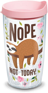Tervis 1303151 Sloth Nope Not Today Tumbler with Wrap and Pink Lid 16 oz