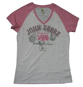 Women's John Deere Glitter Short-sleeved T-shirt Colors White/Pink - Back40Trading2