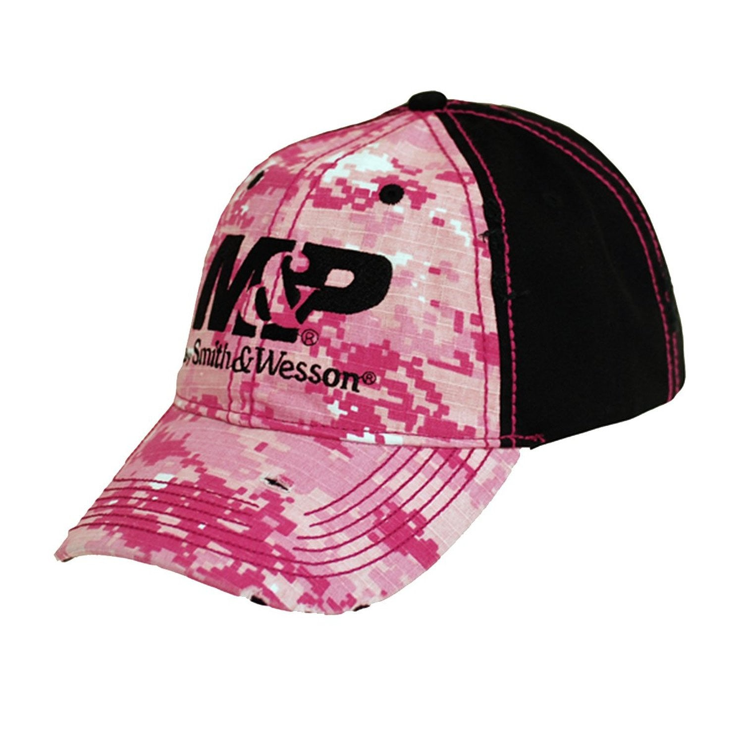 M&P by Smith & Wesson Ladies Pink Digital Camo Logo Cap Hat - Back40Trading2