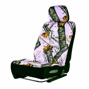 Camo Low Back Seat Cover Neoprene Universal Browning Logo Mossy Oak Pink - Back40Trading2