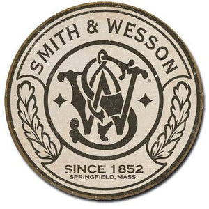 Smith & Wesson Round Metal Tin Sign 11 by 11 inches 1 count - Back40Trading2