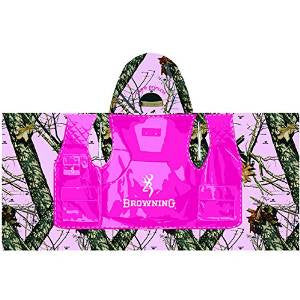 Browning Kid's Hooded Beach Towel Mossy Oak Pink Camo Pink