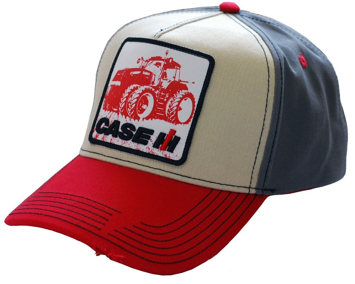 Case IH Distressed Tractor Print Applique Logo Cap - Back40Trading2