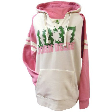John Deere Pink and White Raglan Ladies Hooded Sweatshirt - Back40Trading2