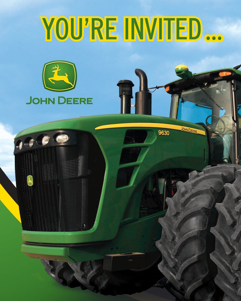 John Deere Birthday Party Invitations, 8 Count