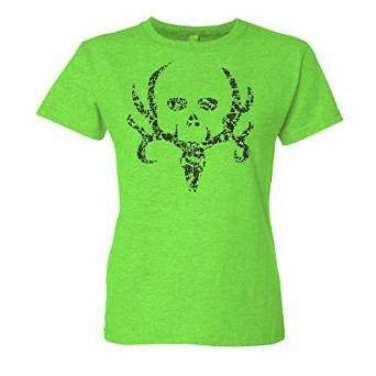 Bone Collector Women's Flocked Floral Skull T-shirt Lime - Back40Trading2